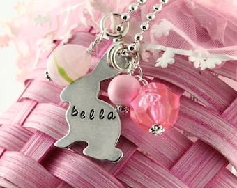 Easter Bunny Necklace - Easter Charm Necklace - Egg Necklace for Girls - Rabbit Necklace - Easter Basket Gift For Girls - Personalized Gift