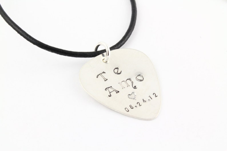 Guitar Pick Necklace  Personalized Guitar Pick  Sterling image 0