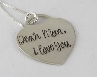 Heart Necklace - Valentine's Day Gift - Sterling Silver Necklace - Mother's Day Gift For Mom - Personalized Necklace - Custom Necklace