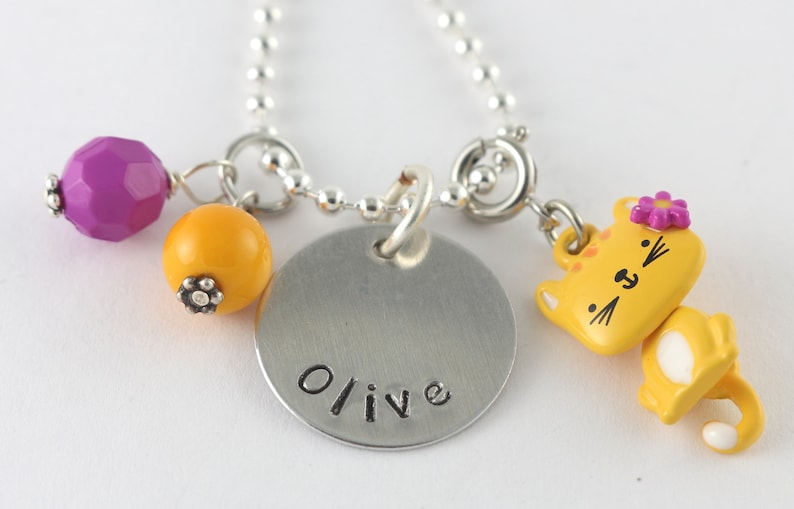 fcafd7d42 Cat Charm Necklace for Girls Cat Necklace Kitten Necklace   Etsy