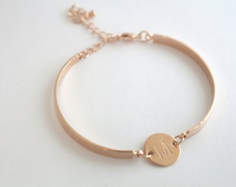 Dainty Initial Personalized Bracelet - Custom Jewelry - Bridesmaid Gift - Best Friend - Silver Rose Gold Gold