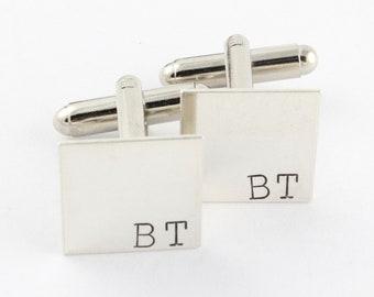 Initials Cufflinks - Square Cufflinks - Personalized Cufflinks - Custom Men's Cuff Links - Shirt Fasteners - Silver Cufflinks - Gift For Dad