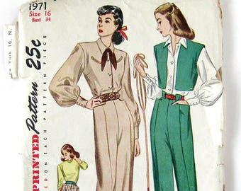 1940s Vintage Sewing Pattern / Misses Hepburn Style Slacks / Western Blouse Ranch Wear Pattern / Womens Western Wear / Size 16 Bust 34 UNCUT
