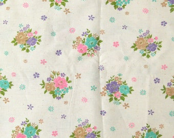 1970s Vintage Cotton Fabric, Floral Print Fabric, Pink and Purple Flowers on Natural White, Vintage Sewing Fabric. Light Weight Cotton