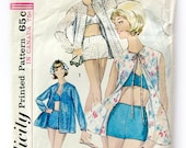 1960s Vintage Sewing Pattern Simplicity 5507 Beach Robe and Two Piece SWIMSUIT Bra Top Boy Shorts Size 14