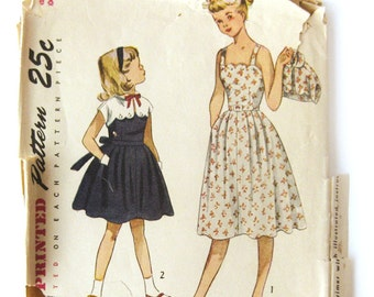 1950s Vintage Girls Girls' Sun Dress with Button-On Bolero / Scalloped Neckline and Bolero / Dress Pattern / Simplicity 3499 / Size 8