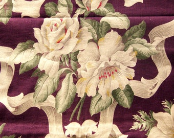 1940s Vintage Floral Upholstery Fabric with Large Flowers and Ribbons / Red Violet with Green Leaves / Pillow Fabric / Shabby Chic