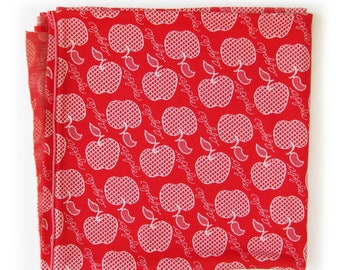 1970's Vintage APPLES Fabric, White Apples on RED Double Knit with Script Type, Diagonal Print, Sewing Fabric, Apple a Day, Teacher Theme