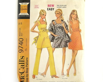 Vintage Sewing Pattern, Mod Dress or Tunic with Pants and Stole, Mini-dress Pattern, McCall's 9740, Mod Sundress, Camisole Dress, Size 16