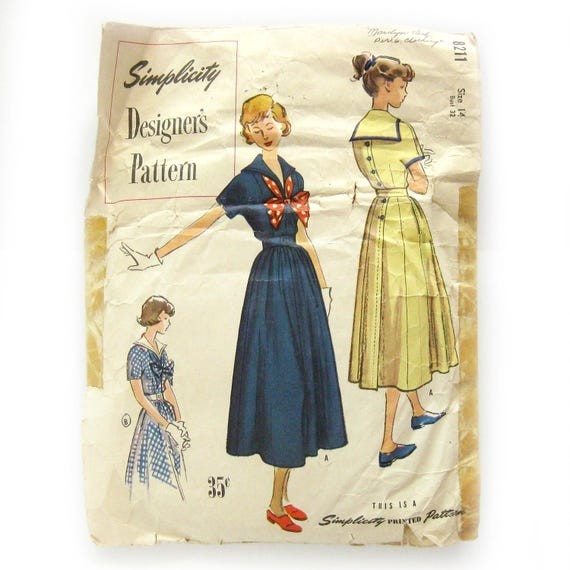 Rare Sailor Dress Pattern 1940s Vintage Sewing Pattern Back Button Day Dress with Sailor Collar Simplicity Designer 8211 Size 14