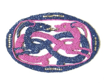 Vintage Beaded Applique for Dress Making, Seed Beads and Rhinestones, Intertwined Animals, Pink and Purple, Vintage Sewing Notions
