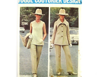 1970 Vogue Paris Original Sewing Pattern 2294, Federico Forguet of Italy, Large Collar Jacket, Dress or Top and Pants / Size 12 UNCUT FF