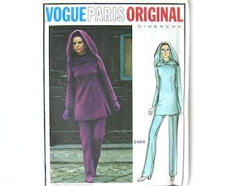 1960s Vogue Paris Original 2484, GIVENCHY Designer, Tunic, Pants and Hood, Space Age, Mod Style, Uncut Factory Folds / Size 12