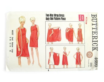 1960s Misses 3 Armhole Dress Pattern, Two-Way Wrap Dress Pattern, Beach Cover Up, Butterick 4699 / Size Medium Bust 34 36