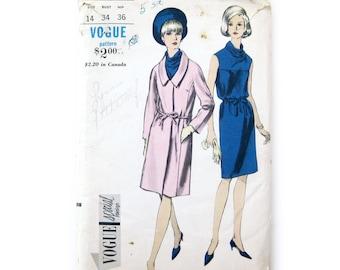 1960s Vintage Vogue Dress and Coat Pattern, Cowl Neck Dress with Belt, A-Line Coat, Vogue Special Design 6898 / Size 14 Bust 34