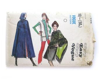 Misses' Hooded Cape, Vest, Shawl Pattern, Vintage Vogue Sewing Pattern, Vogue 7885, Fall Cape, Mod Style, Fringe Shawl, Size Medium