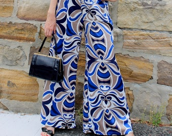 Flared Pants. Blue White Satin Retro Print. Custom Women's Wide Leg Trousers. Perfect for Wedding, Evening Wear, Party. US sizes 4 to 12.