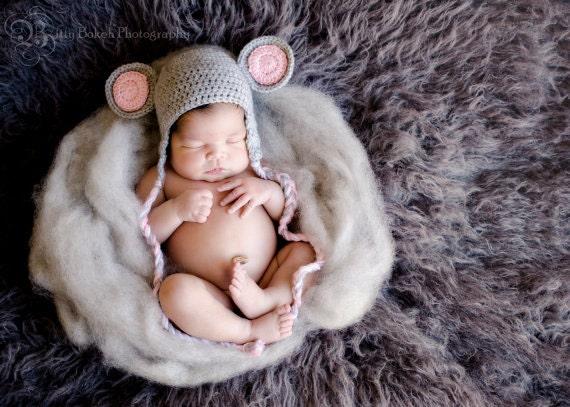 crochet mouse hat   mouse hat   newborn photo prop   baby mouse hat   baby  crochet photo   adorable baby prop
