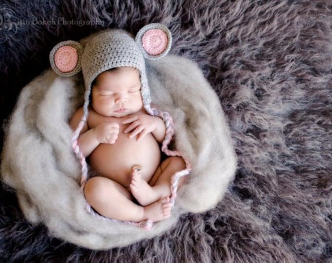 crochet mouse hat...mouse hat...newborn photo prop...baby mouse hat...baby crochet photo...adorable baby prop