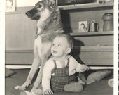 My dog vintage french black and white photographie 1959