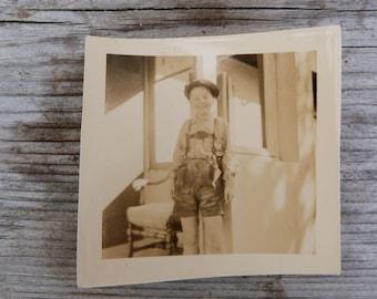 Vintage 1930/30s French black & white  photography boy wearing dirndl German suit