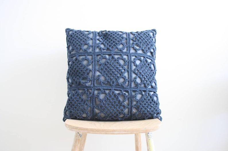 Denim blue crochet pillowcase image 0