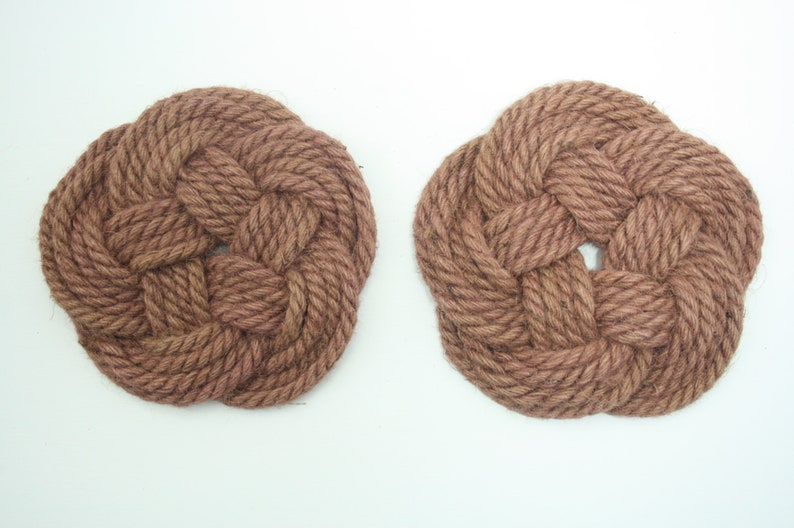 Two jute rope coasters celtic knots for pots & pans image 0