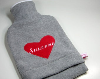 Personalised hot water bottle with red heart