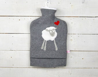 Hot water bottle-heather grey with white sheep