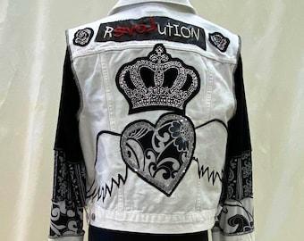 White Denim Rhinestone Guitar Jacket
