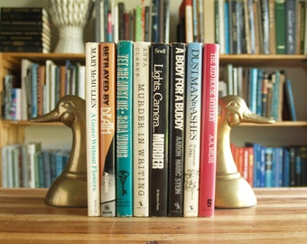 Collection of eight vintage hardcover mystery novels with original jackets - Free US Shipping