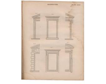 Originales grabados de la edición de 1824 de Encyclopædia Britannica; arcos y molduras - envío gratis