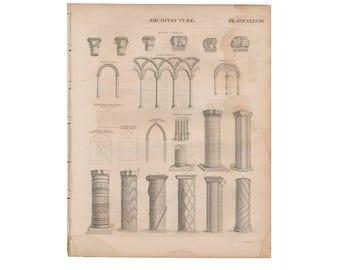 Originales grabados de la edición de 1824 de Encyclopædia Britannica; Arquitectura columnas - nos envío gratis