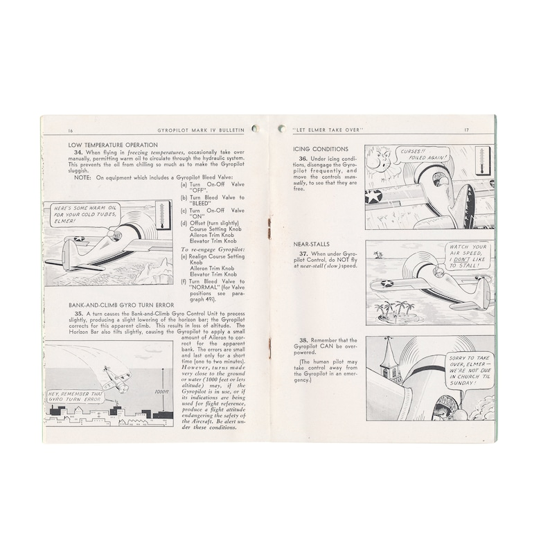Let Elmer Take Over - vintage WWII-era manual for the Sperry Gyroscope from  1943 - Free US Shipping