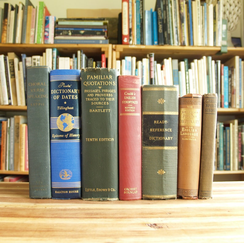 Seven decorative antiquarian and vintage reference books for shelf  decoration or projects - Free US Shipping