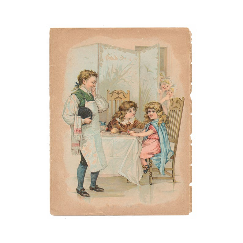 vibrant illustration Free US Shipping antique color lithograph from 1898 Charles Dickens book for children At The Holly Tree Inn
