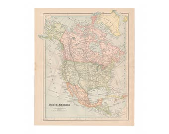 Original antique color map of North America from 1887 encyclopedia - Free US Shipping