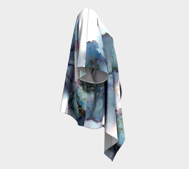 chiffon beach cover up printed original abstract painting watercolor 2 fabric choices kimono draped cardigan Celestial