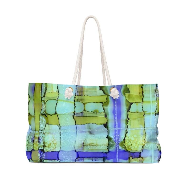 green blue purple watercolor Beach Bag  Weekender Bag with printed original abstract painting