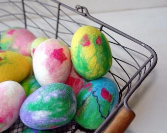 Felted Easter eggs, Hand Felted Easter table decoration, Bright  Spring Easter Egg.