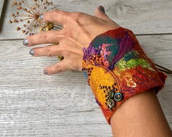 Spices- terracotta and mustard hand felted cuff- bracelet, felt  wrist warmer, wool bracelet