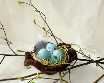 Felted Easter Eggs in Bird Nest, Handmade Easter Eggs, Table Decoration, Blue Eggs Easter Spring Decor, Felted Egg Ornaments, Felt Bird Nest