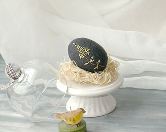 Felted Easter Egg. Black Felt Egg with Gold Embroidering. Table Decoration. Decoration For Photoshoot. Black and Gold Home decor.