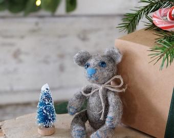 Felt gray mini bear pregnancy announcement for grandparents photo prop baby photoshoot bear baby shower gift Christmas present for boy