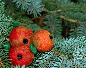 Felt ornaments- Apples of Paradise, Christmas tree decoration, Home decor, Red Christmas tree ornaments,  from Europe