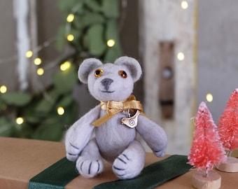 Felt little gray bear photo prop baby photoshoot bear baby shower gift Christmas present for girl