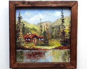 SUMMER LAKE HOUSE Framed Original Oil Painting Art Mountain Cabin Cottage Bungalow Scenic Pine Tree Canoe Vacation Boating Secluded Forest