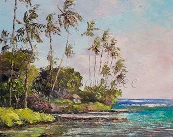 WAILUPE Original 11x14 Plein Air Palette Knife Oil Painting Art Dock Pier Palm Tree Tropical Beach Park Oahu Hawaii Island Ocean Peninsula