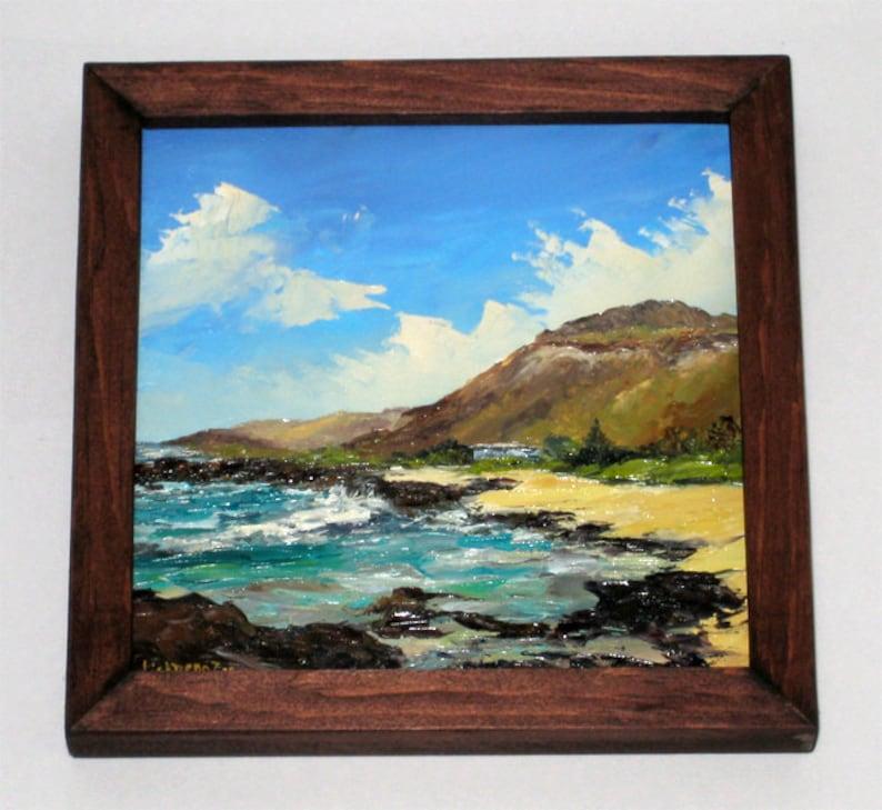 Oahu Peinture Oeuvre Art Head Hawaii Original L'huile Encadré Tropical Sandys Océan Sable Island Koko Crater Plage De Surf Vagues Hawaiian À UpGLqMVzS