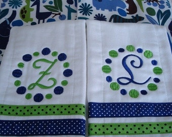 Personalized Burp cloths -Made with 6-ply Premium cloth diapers